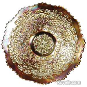 Carnival glass Leaf Chain Plate Marigold | Kovels' Price Guide