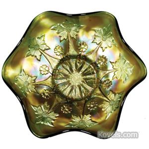 Carnival glass Little Flowers Bowl Green | Kovels' Price Guide