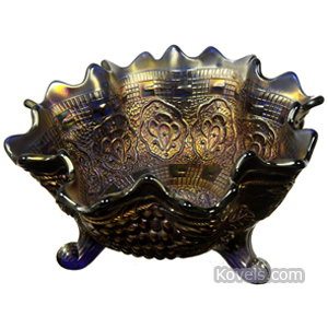 Carnival glass Persian Medallion Bowl Fruit Grape Cable Exterior Amethyst   Kovels' Price Guide