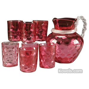 Coin spot Water Set Cranberry Clear Rope Twist Handle | Kovels' Price Guide