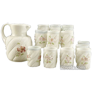 Consolidated Water Set Opal Glass Lattice Bands Pink Roses 13 Piece   Kovels' Price Guide