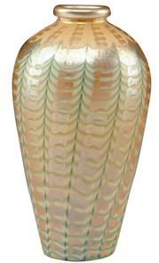 Kew Blas Vase Green Gold Zipper Yellow Gold Iridescent Rolled Rim