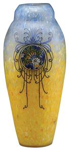 Legras Vase Art Deco Floral Medallions Mottled End-Of-Day Ground Signed