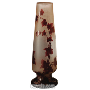 Legras Vase Branches With Leaves Frosted Red Enameled Tapered Footed