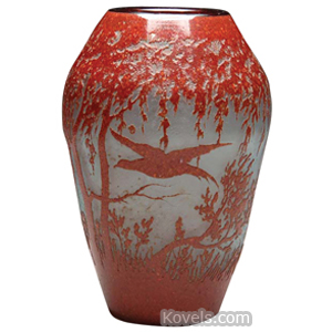 Legras Vase Scenic Deer Bird Trees Mottled Brick Red Swollen Shape Cameo