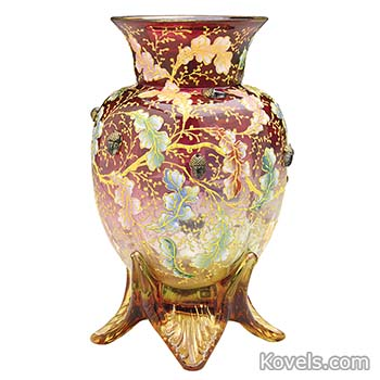 moser-vase-cranberry-shaded-to-clear-oak-leaves-applied-acorns-bumblebee-jj111214-2039.jpg