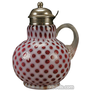 Opalescent Glass Raindrop Syrup Cranberry Crystal Reeded Handle Hinged Lid Oval
