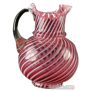 Opalescent Glass Swirl Pitcher Cranberry Bulbous Ruffled Rim Clear Handle