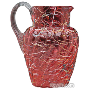 Peloton Pitcher Water Cranberry Multicolored Threads Reeded Handle