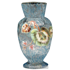 Peloton Vase Blue Threads Enameled Leaf Flowers Gold Rim