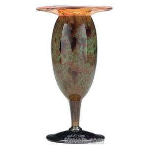 Schneider Vase Amethyst Amber Mottled Green Flared Flattened Rim Pedestal Base