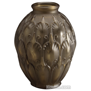 Val St Lambert Vase Brown Frosted Stylized Leaves Tendrils Oval Rolled Rim