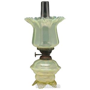 Vaseline Glass Lamp Kerosene Petal Topped Shade Optic Panel Base Burner