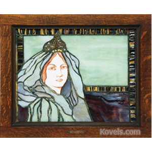Window Stained Glass Leaded Woman Frame Riordan Co