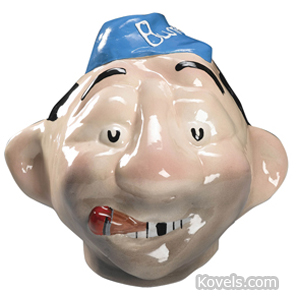 Cookie jar Brooklyn Bum Dodger Cap Gap-Toothed Cigar Ceramic Prototype 1953 | Kovels' Price Guide