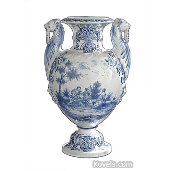 Precise Vintage Delft Blue Nosegay Double Handled Vase Pottery & Glass Pottery & China