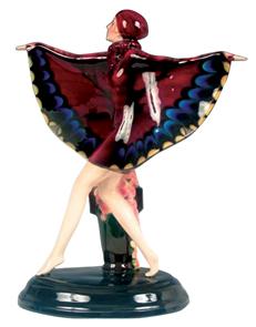 Goldscheider Figurine Butterfly Lady Signed Lorenzl