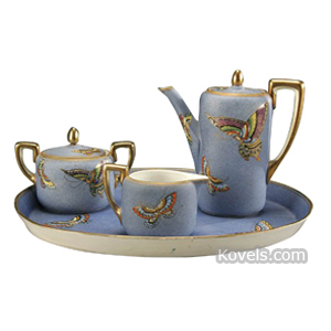 Noritake Demitasse Set Butterflies Blue Gold Trim Green M In Wreath C1920