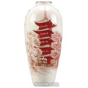 Noritake Vase Pagoda Red White Ground S Kimura C1930