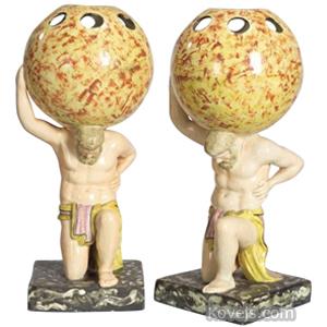 Pearlware Figurine Hercules Kneeling Enamel Pierced Globe Staffordshire C1800