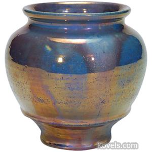 Pewabic Pottery Vase Blue Metallic Luster Glaze Bulbous Footed