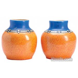 Pilkington Vase Cobalt Orange Art Deco Geometric Band Royal Lancastrian