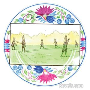 Spongeware Plate Rabbits Virginia Rose Conductor Doctor Family Dancers