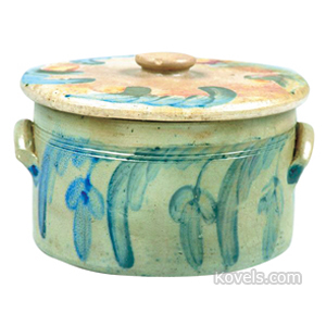 Stoneware Crock Cake Cover Stylized Swag Flowers Incised Bands Applied Ear Handles