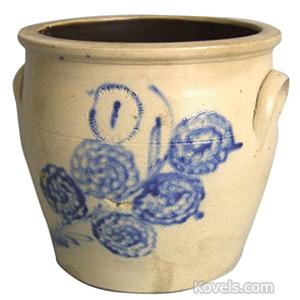 Stoneware Crock Flowers Cobalt Blue N Clark Jr Athens Ny 2 Gal