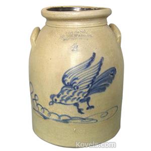 Stoneware Crock Flying Chicken Cobalt Blue Ny Stoneware Co Fort Edward Ny 4 Gal