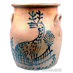 Stoneware Crock Stag Fence Trees Bulbous Flared Rim Ear Handles Edmands Co