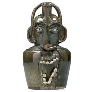 Stoneware Jug Face Devil Monkey Ceramic Teeth Eyes Runny Olive Glaze Steve Abee