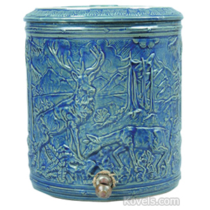 Stoneware Water Cooler Embossed Stag In Forest Blue Glaze Cover Pinecones Needles