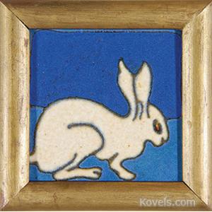 Tile Rabbit White Blue Ground Flint Michigan Tile Co Frame