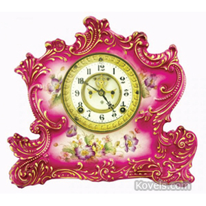 Clock Ansonia Shelf China Shaped Scrolls Pink Gold Trim Pendulum Key | Kovels' Price Guide