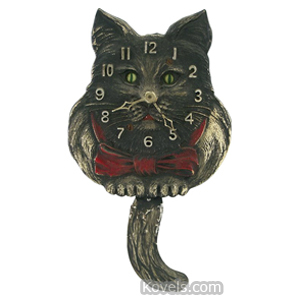 Clock Lux Cat Blinking Eye Arms Attached To Nose Tail Pendulum Keywind   Kovels' Price Guide