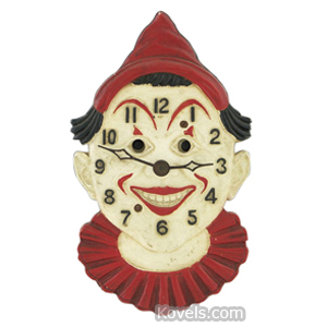 Clock Lux Clown Blinking Eye Arms Attached To Nose Red Hat Collar Keywind | Kovels' Price Guide