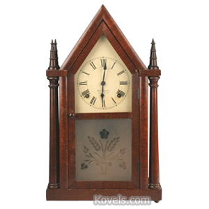 Clock Shelf Ingraham E Steeple Mahogany Frosted Glass Vase Of Flowers c1938 | Kovels' Price Guide