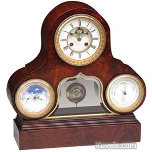 Clock Shelf Mahogany Barometer Calendar Time Pendulum Window France | Kovels' Price Guide