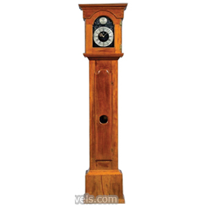 Clock Tall Case Thomas Nauman Cherry Arched Glazed Door Iron Dial Black Paint | Kovels' Price Guide