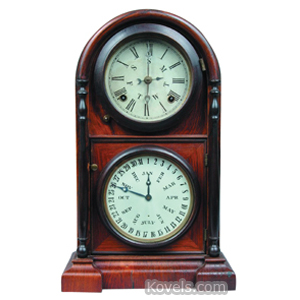 Clock Welch Spring Rosewood Arched Turned Columns Perpetual Calendar 2 Dials   Kovels' Price Guide