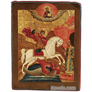 Icon St George Slaying Dragon Russia 1780-1810,