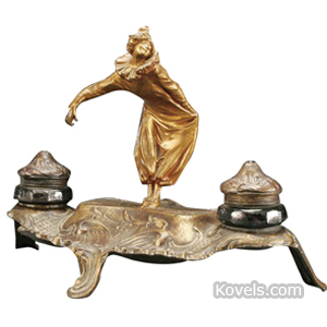 Inkstand Ormolu Harlequin Bowing Art Nouveau 2 Pots 3-Footed