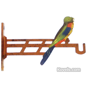 Iron Plant Hanger Parrot On Branch Cast Painted 2-Sided