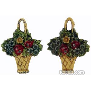 Iron Tieback Flowers Woven Basket Cast Painted,