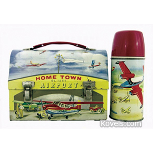 Lunch Box Home Town Airport Steel Dome King Seeley Thermos Co 1960
