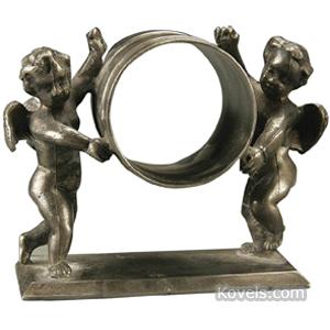 Napkin Ring Silver Plate Figural 2 Winged Cherubs Holding Ring Meriden-Britannia