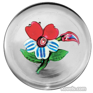 Paperweight Boston Sandwich Weedflower Bud Red Striped Petals Clear Ground
