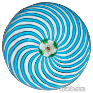 Paperweight Clichy White Green Rose Cane Center Turquoise White Swirls