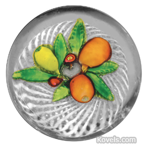Paperweight St Louis Fruit Bouquet Double Swirl White Latticinio Basket